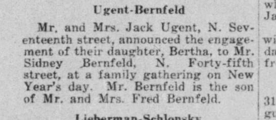 Bertha Ugent engagement to Bernfeld announcement 2 Jan 1942 WI Jewish Chronicle - Ugent-Bernfeld Ugent-Bernfeld Ugent-Bernfeld j...