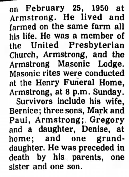 Norman Lester Stevens part 2 - on February 25, 1950 at Armstrong. He lived and...