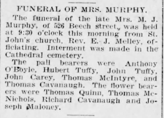 Mrs M. J. Murphy Funeral (Tuffy mention) - FUNERAL OF MRS. MURPHY. The funeral of the late...