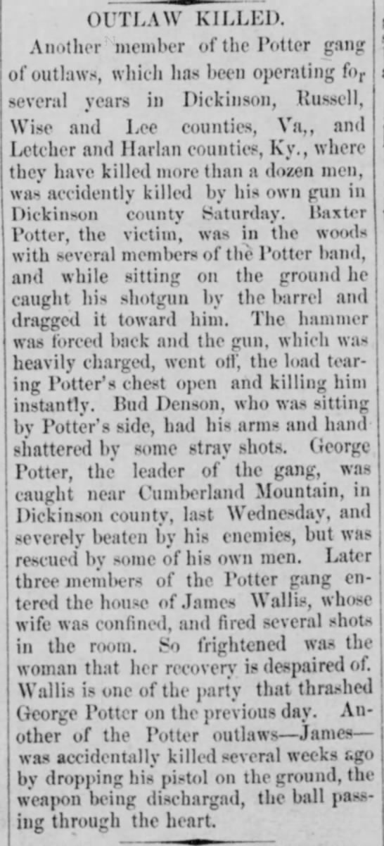 "Potter Gang - 11 August 1902 - outlaw""killed. Another member of the Potter..."
