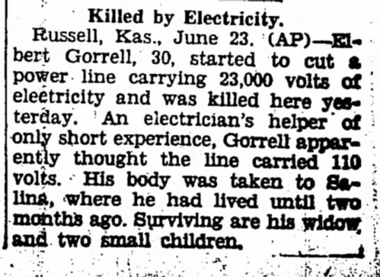 Elbert Gorrell - The Iola Register 23 June 1937 Page 1 - Killed by Electricity, Russell, Kas., June 23....