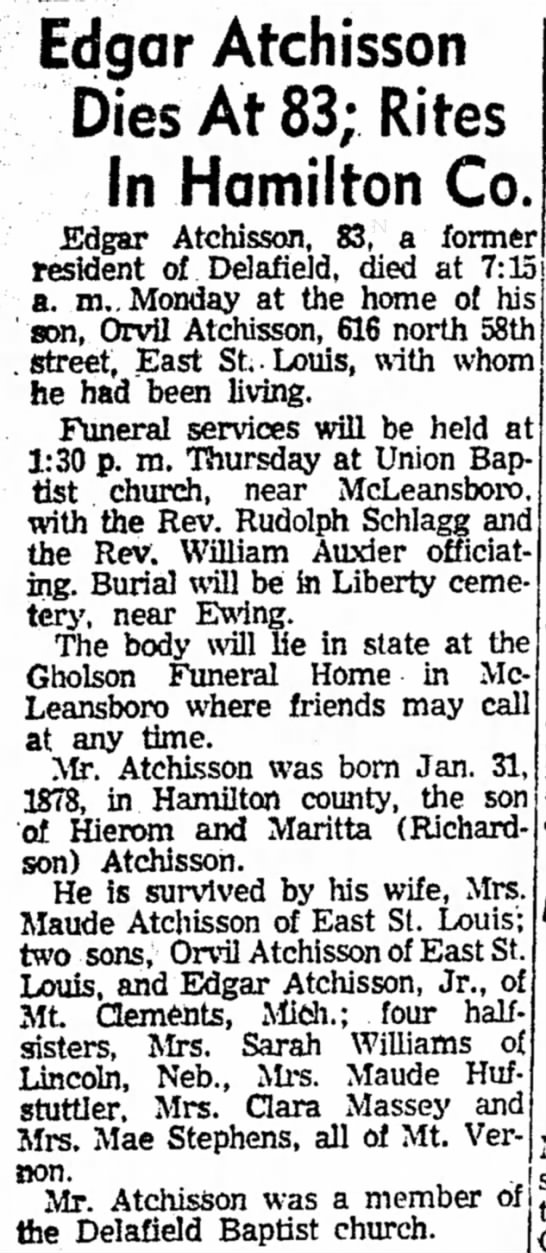 Edgar Atchisson obit - Edgar Atchisson Dies At 83; Rites In Hamilton...