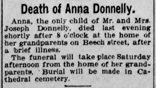 Death of Anna Donnelly - Death of Anna Donnelly. Anna, the only child of...
