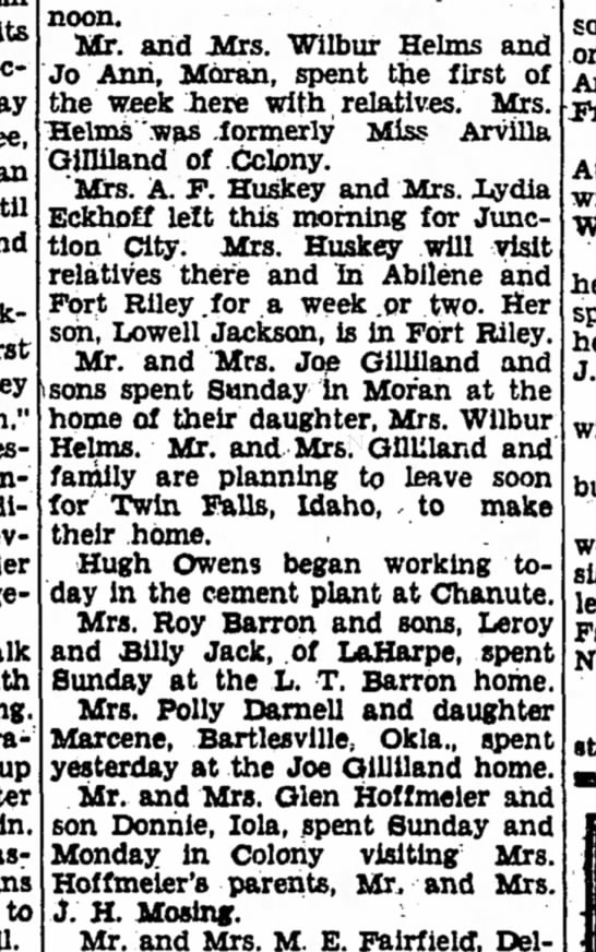Colony Gillilands - to Afternoon. Mr. and Mrs. Wilbur Hehns and Jo...