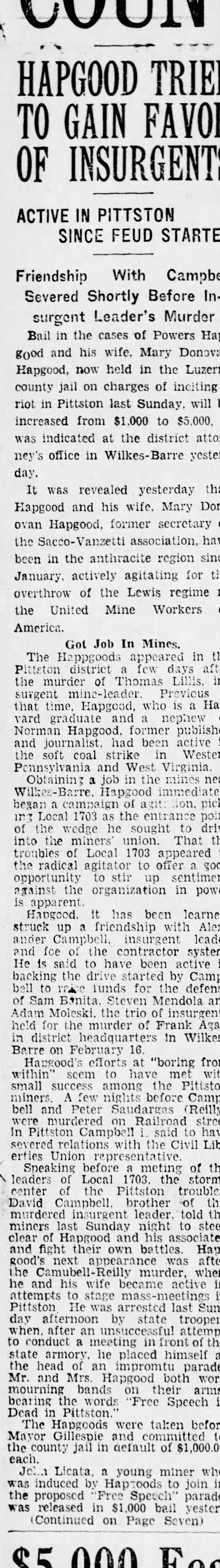 Scranton Republican, 7 March 1928, page 3 - HAPGOOD TRIED TO GAIN FAVOR OF INSURGENTS...