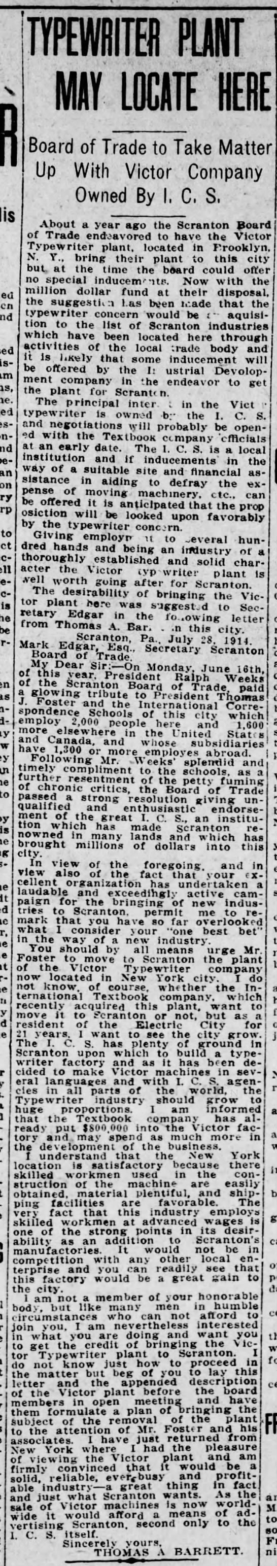 The Scranton Truth 31 July 1914 Thomas A. Barrett letter - do' an to be to it - TYPEWRITER PLANT MAY...