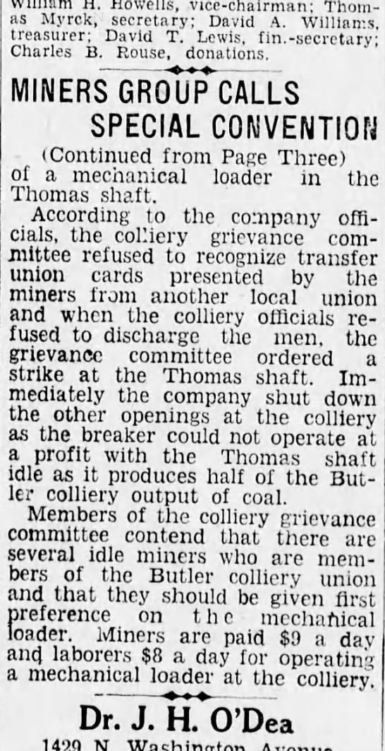 Scranton Republican, 19 March 1928, page 6 - H. Howells, vice - chairman; Thomas Thomas...