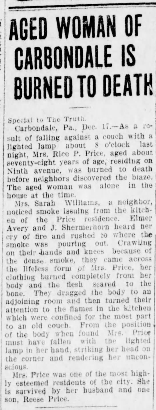 1910-12-17 Mrs Price Burned to Death - AGED WOMAN OF GARBONDALE IS BURNED TO DEATH...