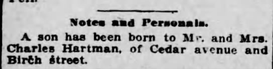 Charles Hartman Birth - Notes and Personals. A son has been born to M...