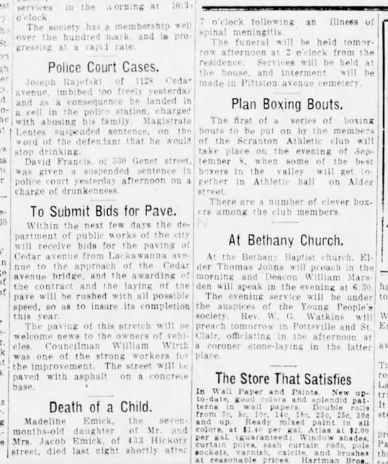 The Scranton Truth26 August 1911p 3 - th' St. on - V. - ', services in the a ormng at...