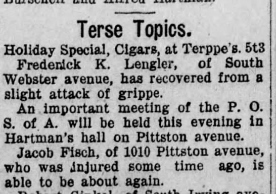 Jacob Fisch injured - Terse Topics. Holiday Special, Cigars, at...