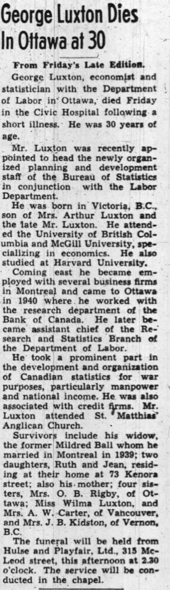George Luxton Obit 6 Jan 1945 - George Luxton Dies In Ottawa at 30 From...