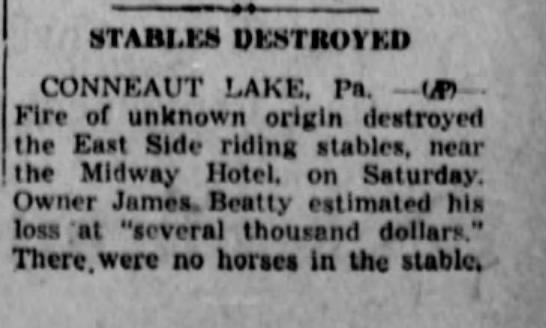 Kane Republican 11/3/1947 - STABI.KS DESTROYED CONNEAUT LAKE. P. - iJP) -...