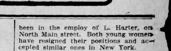 Agnes Joyce - been in the employ of L. Harter, onv North Main...