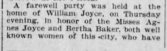 Agnes Joyce - A farewell party was held at the home of...