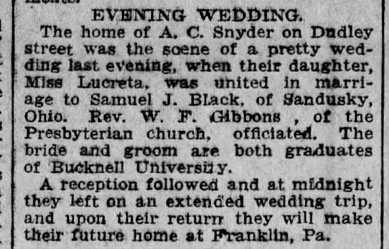 Angus C Snyder - EVENING - WEDDING. The home of A. C. Snyder on...