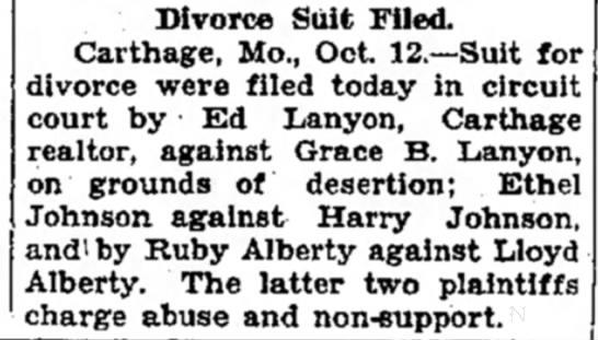 Ruby Alberty asks divorce from Lloyd AlbertyOct 13, 1928Joplin Globe - Divorce Suit Filed. Carthage, Mo., Oct....