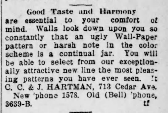 "Hartman Bros ""C.C & J Hartman"" - Good Taste uml Harmony are essential to your..."