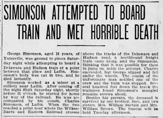 Simonson Attempted to Board Train Met Horrible Death - George Simonson, aged 28 years, of Yatesville,...