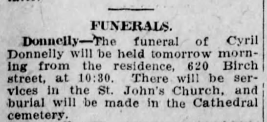 Cyril Donnelly funeral announcement - FINERALS. Donnelly The funeral of Cyril...