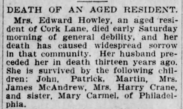 Obituary in which the woman is referred to by her husband's name