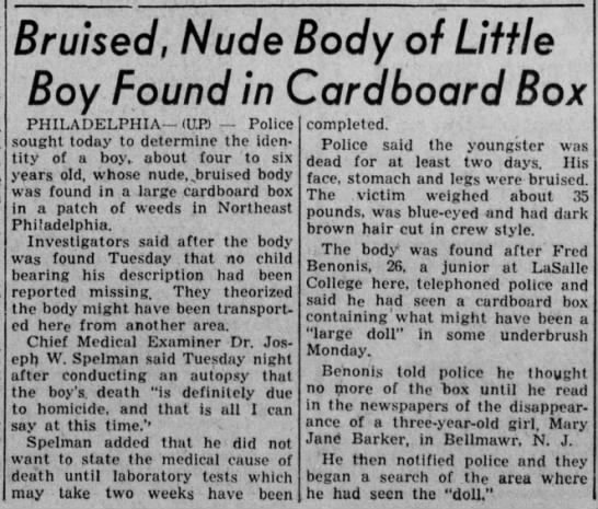 Boy in the Box 1957 - Bruised, Nude Boy Found in PHILADELPHIA (UP)...