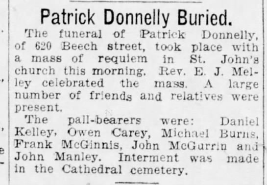 Patrick Donnelly buried - Patrick Donnelly Buried. The funeral of Patrick...