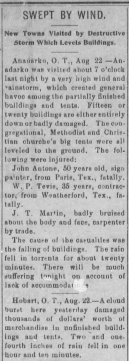 Death of William Perry Tevis in a tornado in Anadarko, Oklahoma Territory August 22, 1901 - SWEPT BY WIND, New Towns Visited by Destructive...