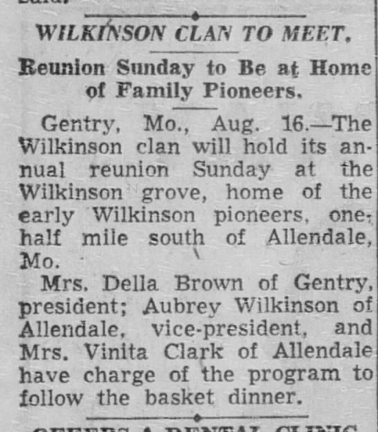KCTimes, Aug 17 1956 - W ILKriS'SON CLAN TO MEET. Reunion Sunday to Be...