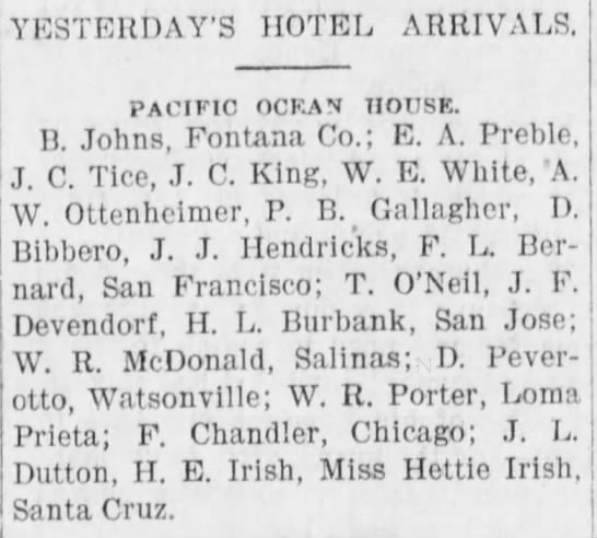 1898 Apr 8 - Irish - Evening Sentinel - Hotel Arrivals - YESTERDAY'S HOTEL ARRIVALS. PACIFIC OCEAN...