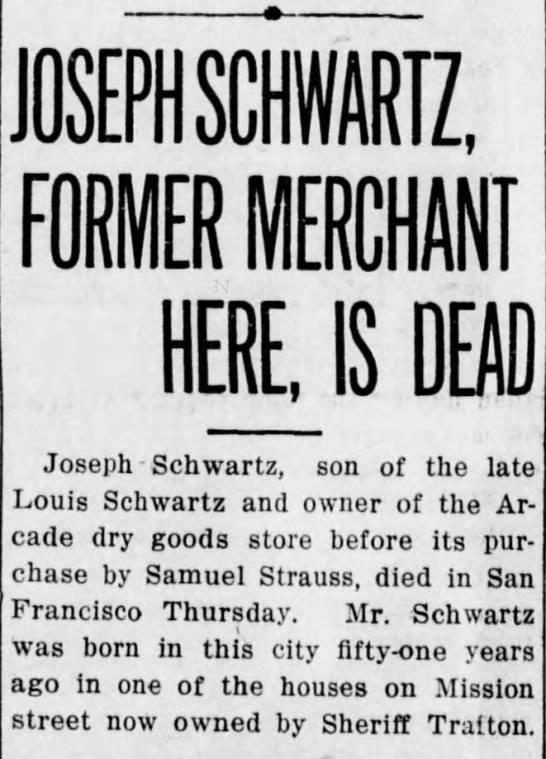 Joseph Schwartz Dead - OSEPHSCHWART I mm KHAN T HER US DEAD Joseph...
