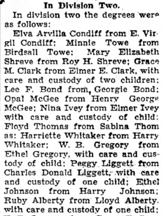 Ruby Alberty from Lloyd Alberty with care and custody of one child.