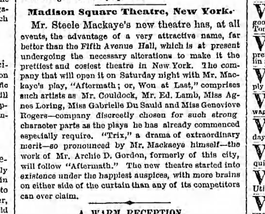 Won At Last clipping 2 - in to iTIadlson Square Theatre, New Yorfc. -...