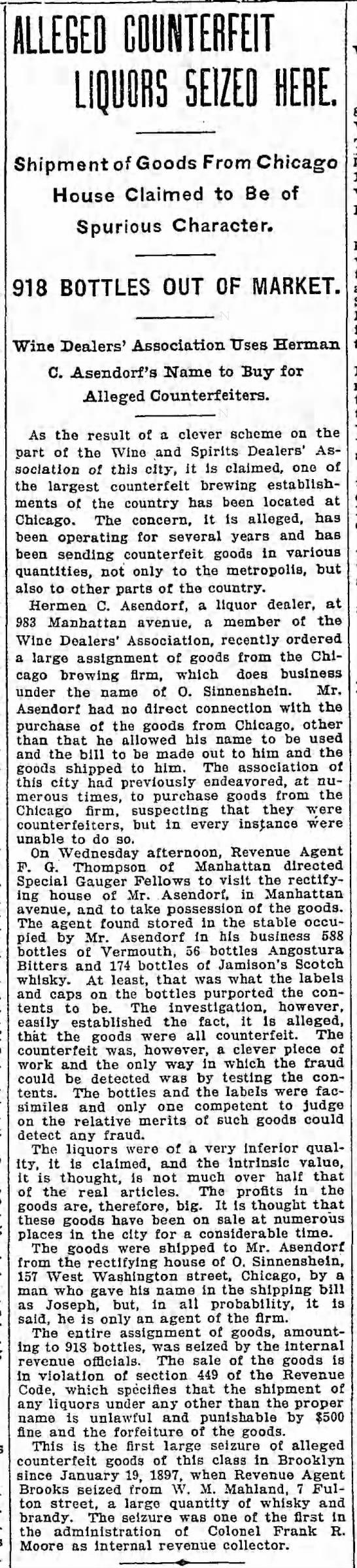 Herman Asendorf, 5 Dec 1901 - ALLEGED MNTERFEIT LIQUORS SEIZED HEBE. Shipment...