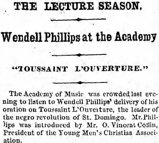 Headline about courage - THE LECTURE SEASON, Wendell Phillips at the...