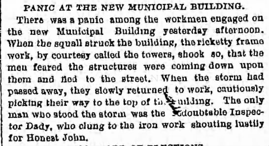 Thursday, August 30, 1877 - Page 4 - PANIC AT THE NEW MUNICIPAL BUILDING. There was...