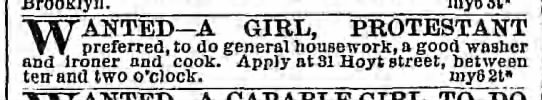 Wanted--A girl, Protestant preferred; New York 1867 - Brooklyn. WANTED A GIRL, PROTESTANT preferred,...