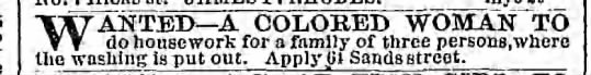 Wanted--A colored woman, New York 1867 - W ANTED A COLORED WOMAN TO do housework for a...