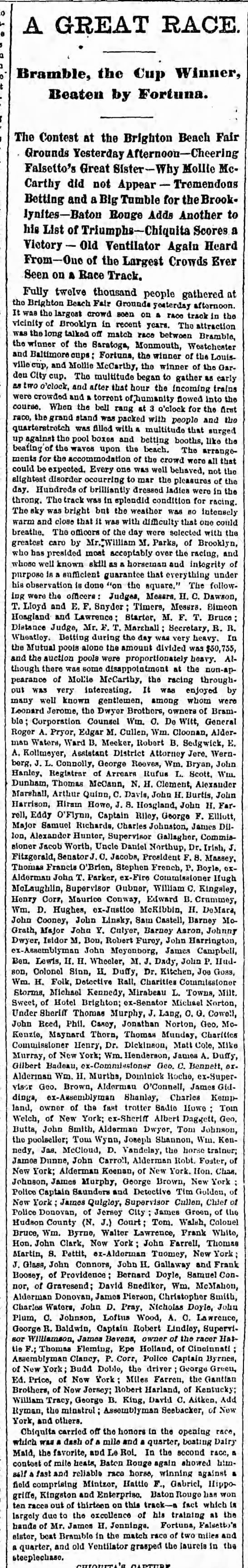 Saturday, August 30, 1879 - Page 2 - A GREAT RACE. Bramble, the Cup Winner, Beaten...