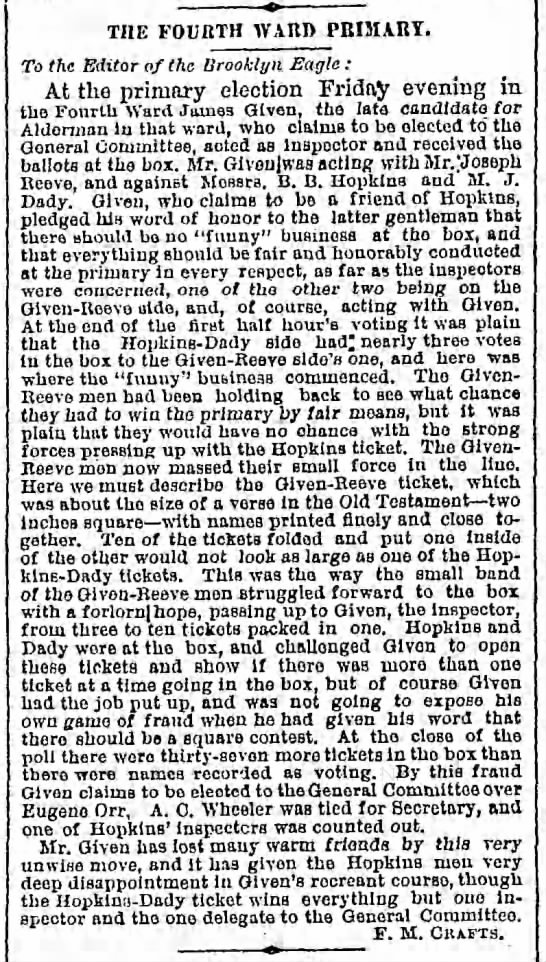 Sunday, November 30, 1879 - Page 3 - THE FOUItTH WAItD PRIMARY. To the Editor of the...