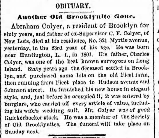 Abraham Colyer Obituary - OBITUARY. Another Old ttroolt I j ulte Gone....