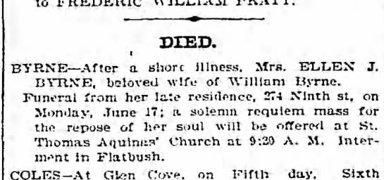 Possibly Johanna Dempsey mother? - to FREDERIC DIED. BYRNE After a shore Illness....