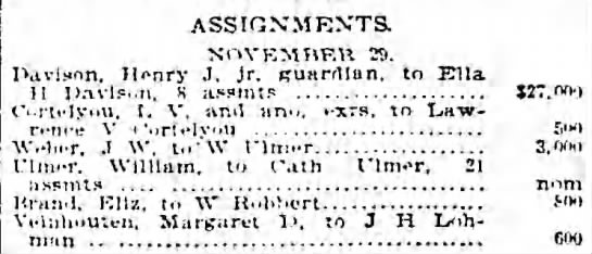 ULMER, William 1895.12.02 Assignments to wife - ASSIGNMENTS. NOVEMBER Tj. Bavison. Henry J. jr....