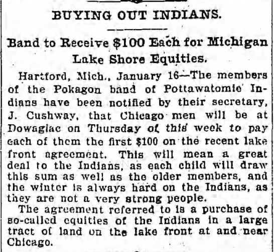 J Cushway 1902 - BUYING OUT INDIANS. Band to Receive $100 Each...