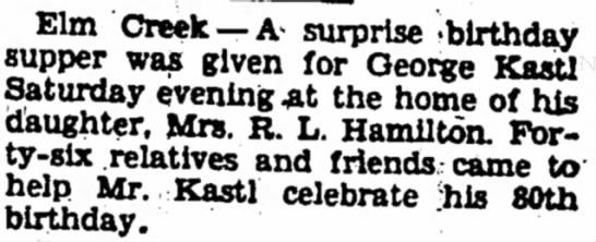 Ovtober 6, 1934 - Elm Creek —A> surprise -birthday supper was...