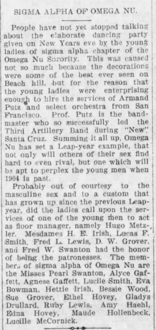 1904 Jan 4 - Hettie Irish - Evening Sentinel - New Years Dance - SIGMA ALPHA OF OMEGA NU. People have not yet...