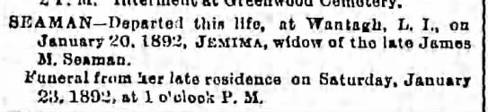 Seaman, Jemima - 815 AM AN Departed this lifo, at Wantagh, L....