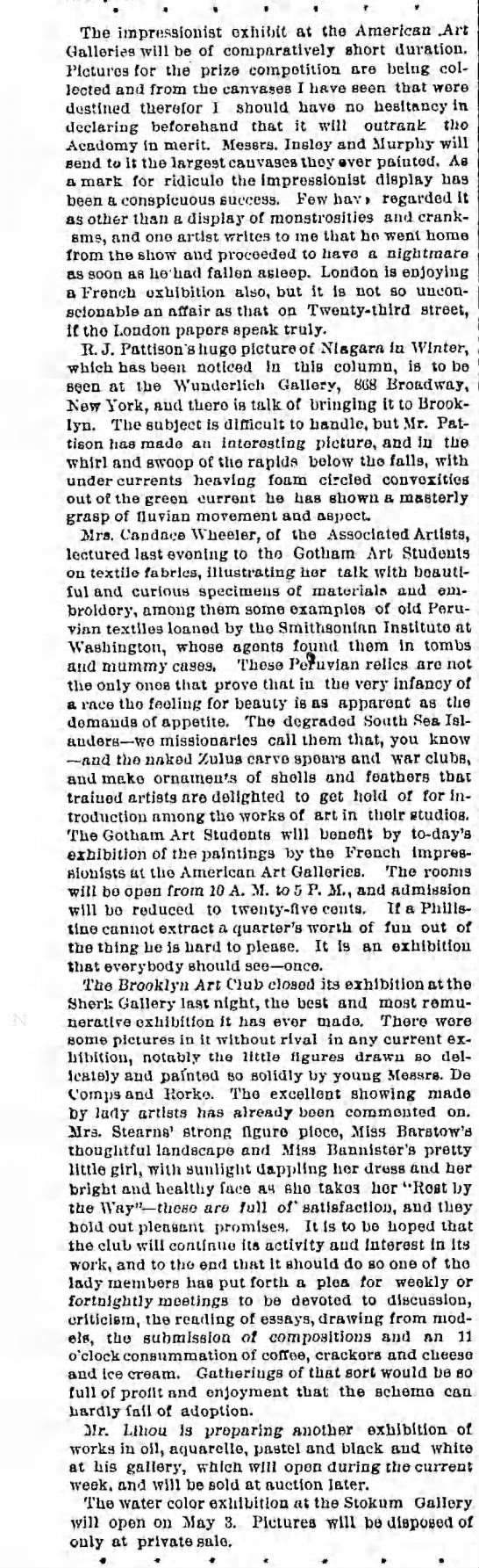 Negative review of French Impressionism exhibit in NYC in 1866. - The impressionist oxiiibit at the American .Art...