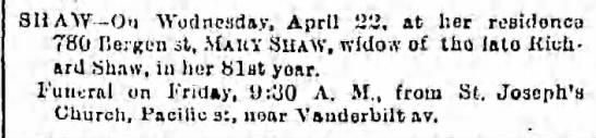 Mary Gallagher Shaw Death Notice - SHAW - On Wednesday, April 22, at her residence...
