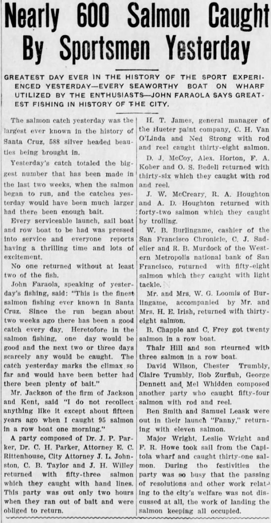 1912 May 13 - H E Irish - Santa Cruz Evening News - Salmon - Caught Nearly 600 Salmon By Sportsmen Yesterday...